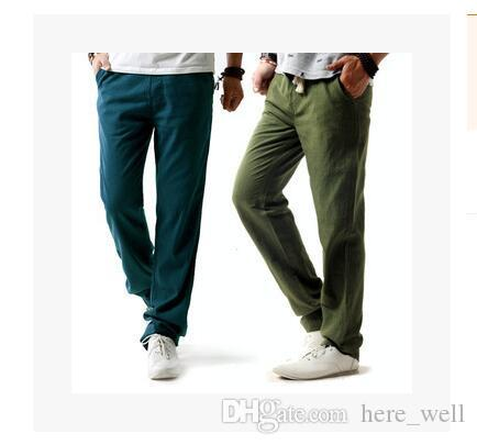 d356d553da88 Brand New Summer Linen Casual Pants Men Solid Thin Breathable ...