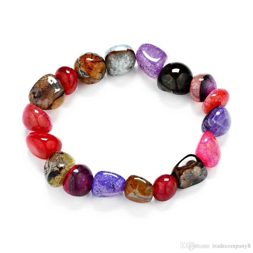 2019 professionnel super qualité dernière collection Natural stone Chip Bracelet Baroque stone tumbled Chip Bead Bracelet chakra  Colorful bracelets