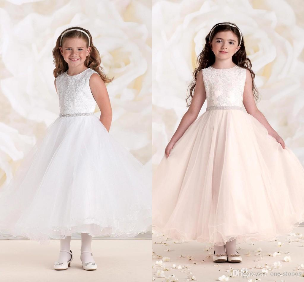 7aed053ef A Line Flower Girls Dresses Tulle Ankle Length Wedding Dresses For Girls  Lace Applique Jewel Neckline Beaded Sash Girls Pageant Gowns BO8550  Biscotti ...