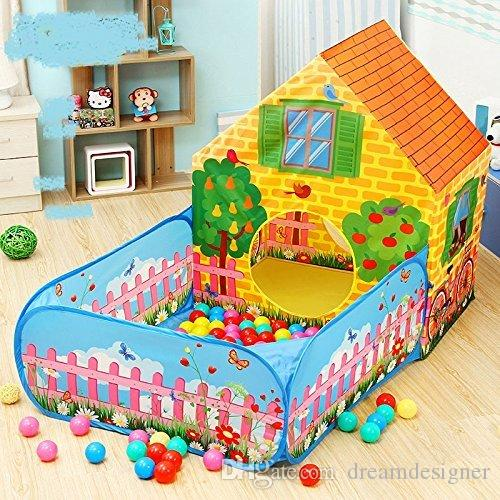 kids playhouse tent indoor outdoor garden games, garden tent 2 in 1 with Ball Poll