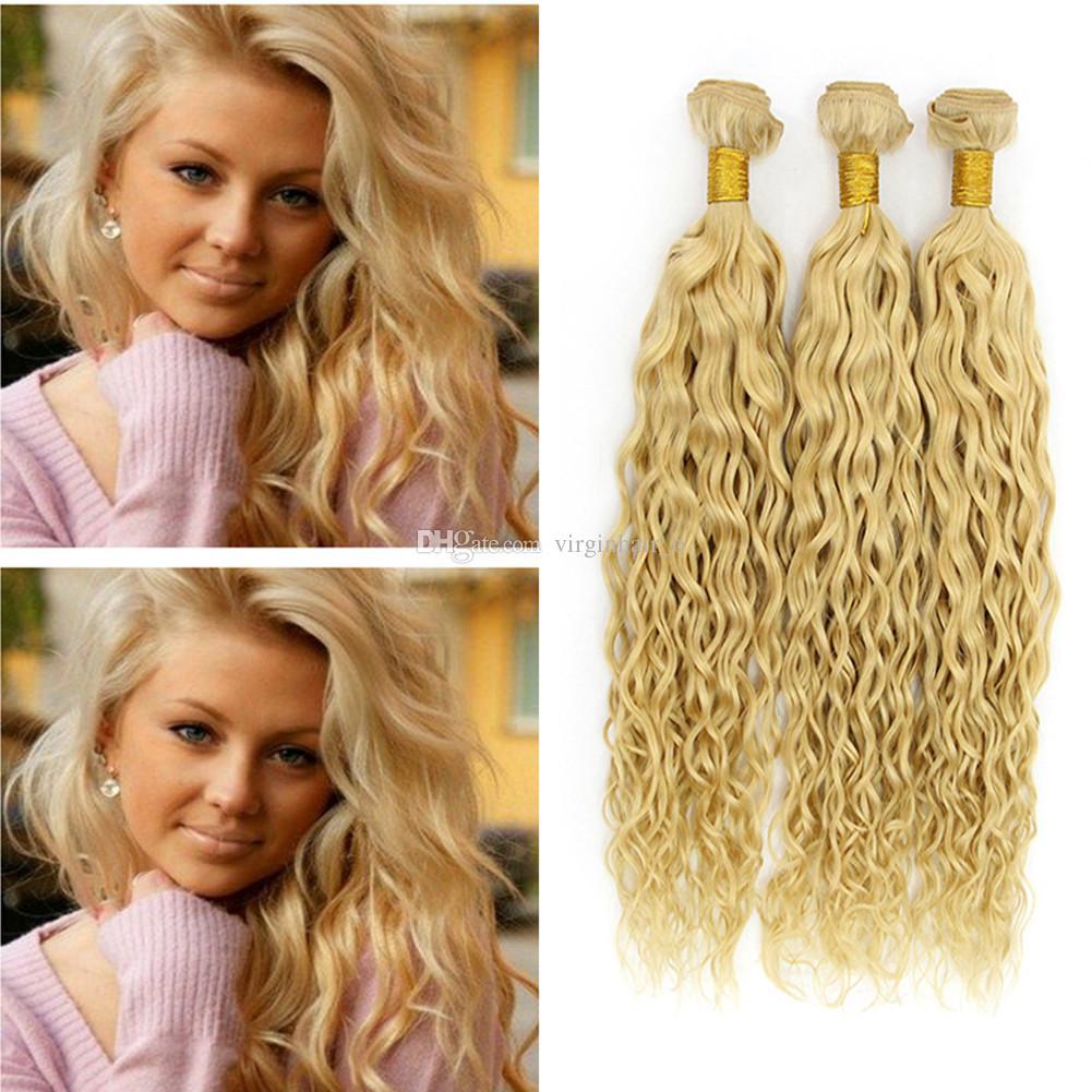 Brazilian Water Wave Hair Weaves Color 613 Bleach Blonde Human Hair