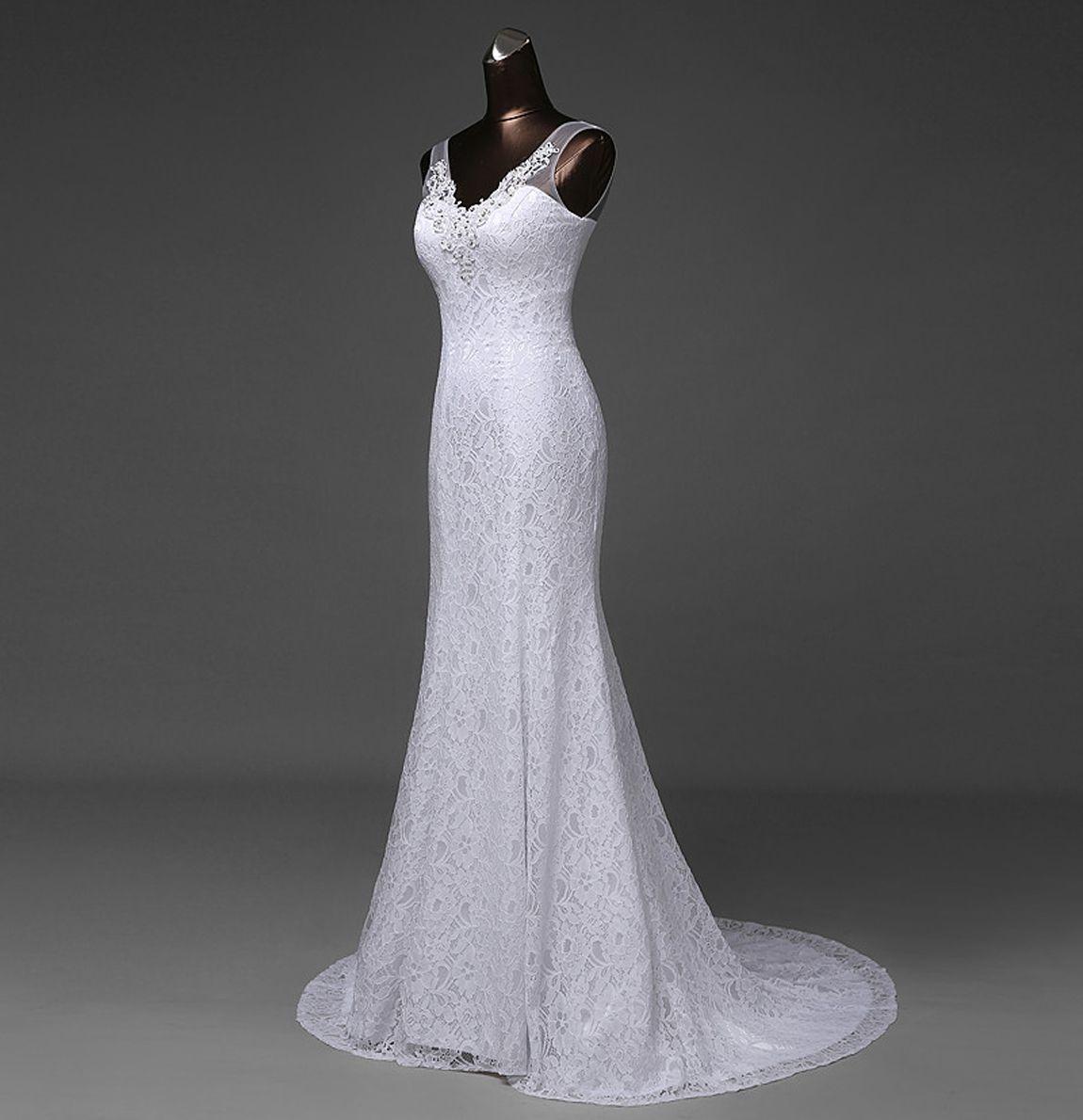 V Neck Lace Mermaid Wedding Dress With Beads Lace Up 2020 White Ivory Bride Dresses Long