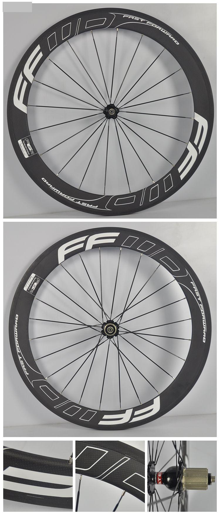 700C FFWD Carbon Road Wheelset 60mm Carbon Rims Bicycle Wheels Clincher Tubular Racing Cycling Kits Novatec 271 Hubs 20/24 Spokes
