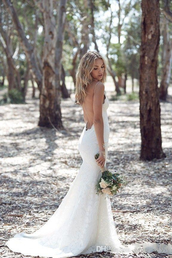 2019 Backless Wedding Dresses Mermaid Spaghetti Strap Sexy Full Lace Wedding Dress Cheap Sweep Low Back Boho White Bridal Dress DTJ