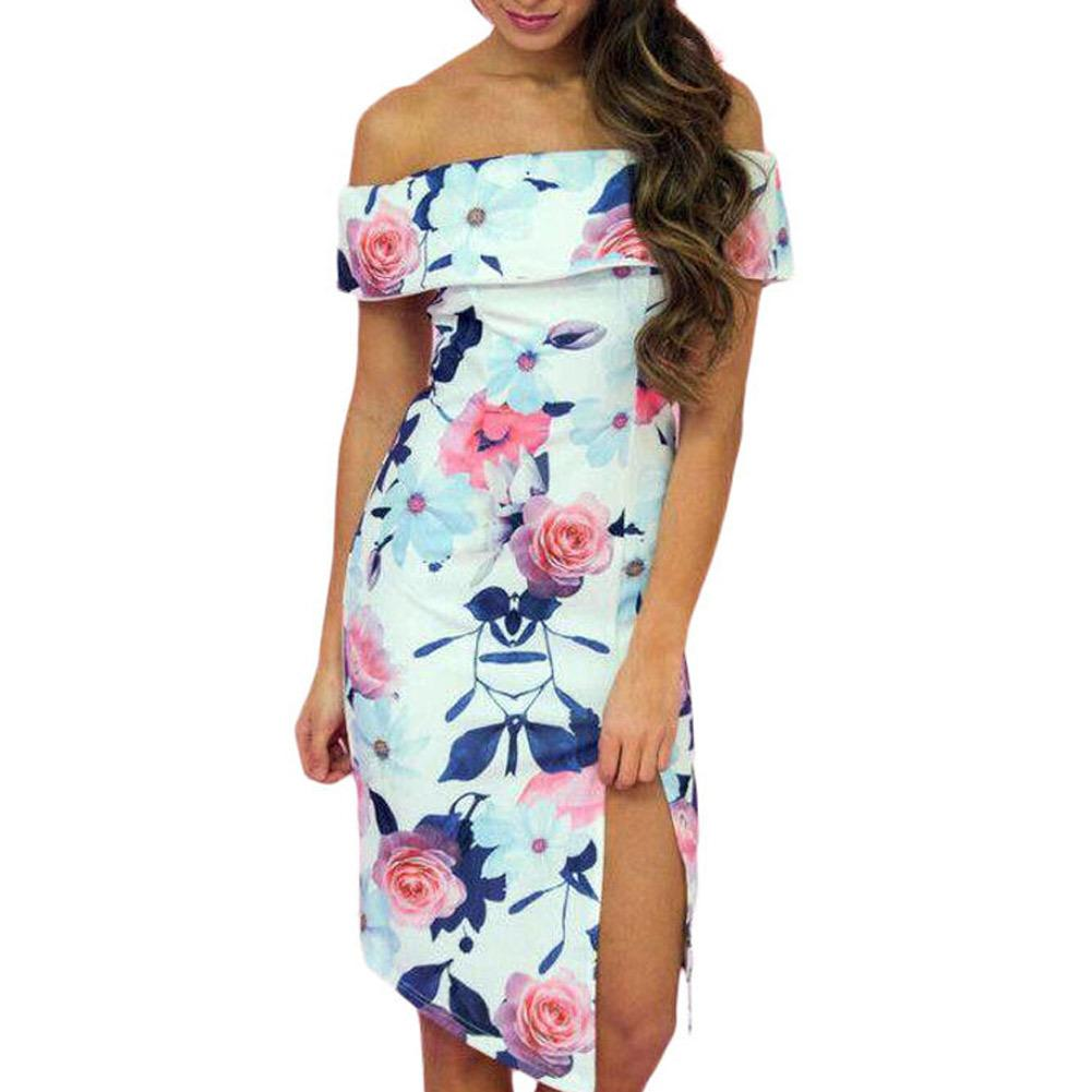 Fashion New Summer Women Dresses Bloom Off The Shoulder High Slit Floral Printed High-low Bodycon Dress Vestidos Mujer