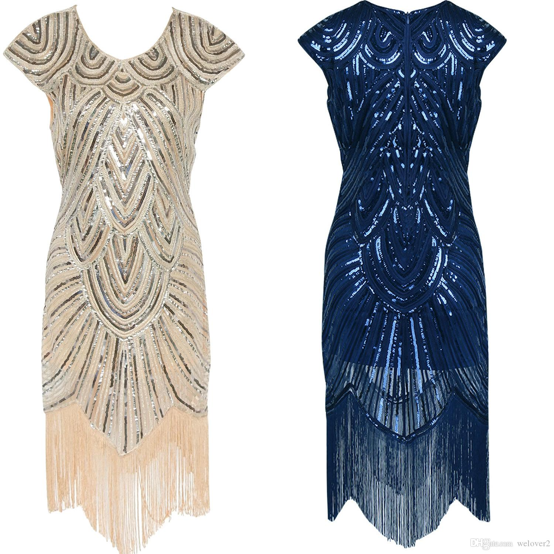 Großhandel Vintage 1920er Jahre Flapper Great Gatsby Kleid Flügelärmeln  Pailletten Fringe Party Midi Kleid 2017 Sommer Frauen Vestido De Festa  H0016 Von ... eb79bbc926