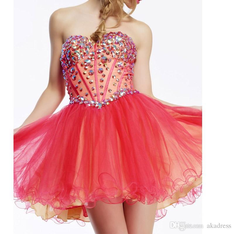 Compre 2017 Barato Crystal Short Homecoming Vestidos De Tul Vestido ...