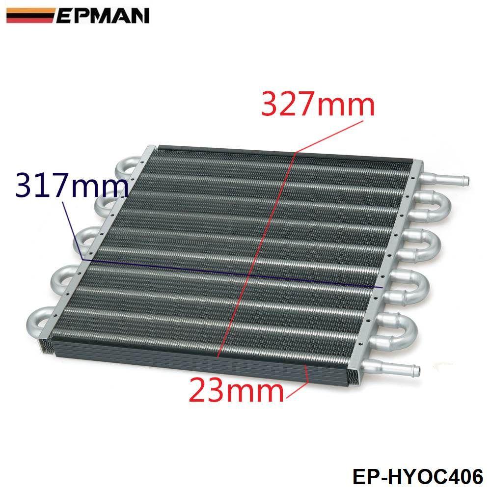 EPMAN -NEW RACING 10 Row Black Aluminum Remote Transmission Oil Cooler / Auto-Manual Radiator Converter Kit EP-HYOC406