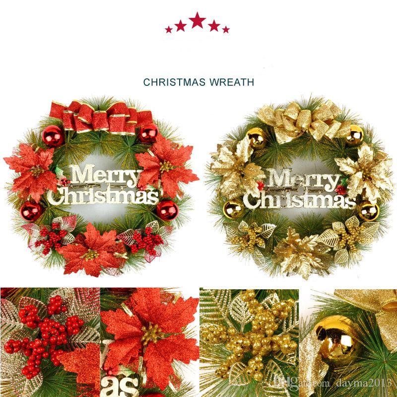 Hot sale holiday gift 40cm door act Christmas Wreath red and gold colour for Christmas holiday decoration gifts