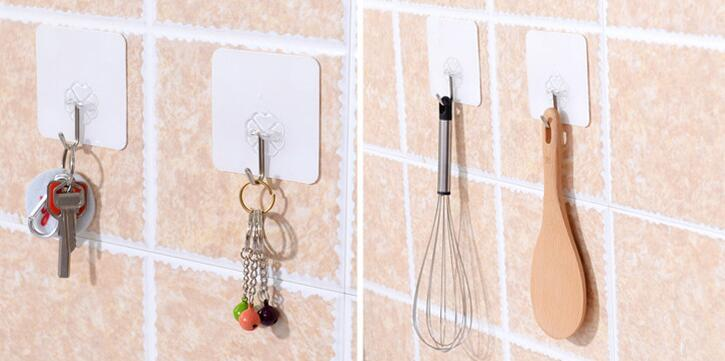 Hotsale Cute Strong Adhesive Sticky Hooks Rails Self Adhesive Transparent Wall Hanger Bags Keys door hooks for clothes