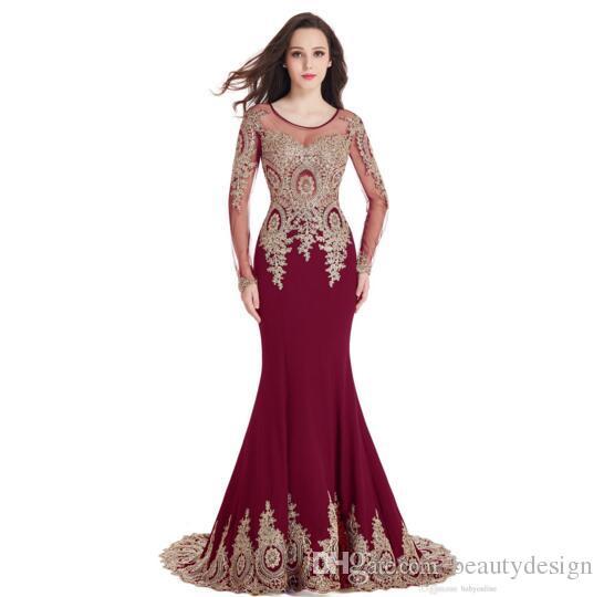 Tanie Długie Rękawy W magazynie Scoop Sheer dekolt Mermaid Gold Lace Aplikacje Burgundii Prom Dresses Robe de Soiree Longue Party Suknia