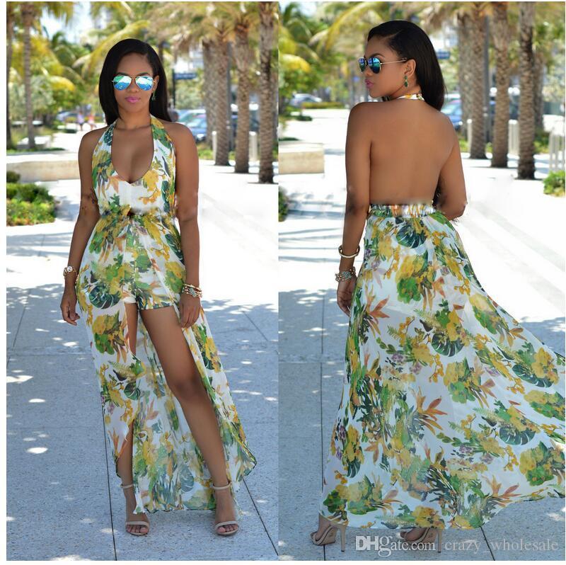 b35a1c76f8a Elegant Chiffon Summer Flora Printed Slip Long Dress Flowy Backless  Bohemian Maxi Sleeveless Dresses Halter Pinafore Beach Boho Chic Party Dress  Gold Pink ...