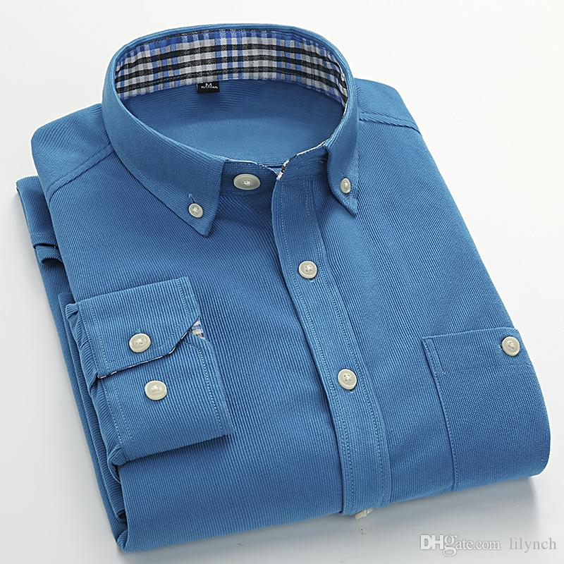 Em 2017, o principal impulso novo negócio casual homens 7 código de cor Metrosexual camisa de manga comprida de veludo fino.