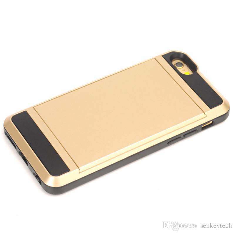 Glissière De Luxe Porte-Carte De Crédit Fente Pour Carte De Poche Portefeuille Poche Etui Pour iPhone 8 note 8 s7 s6 5 5s 6 6s 4.7 '' 6 Plus 5.5