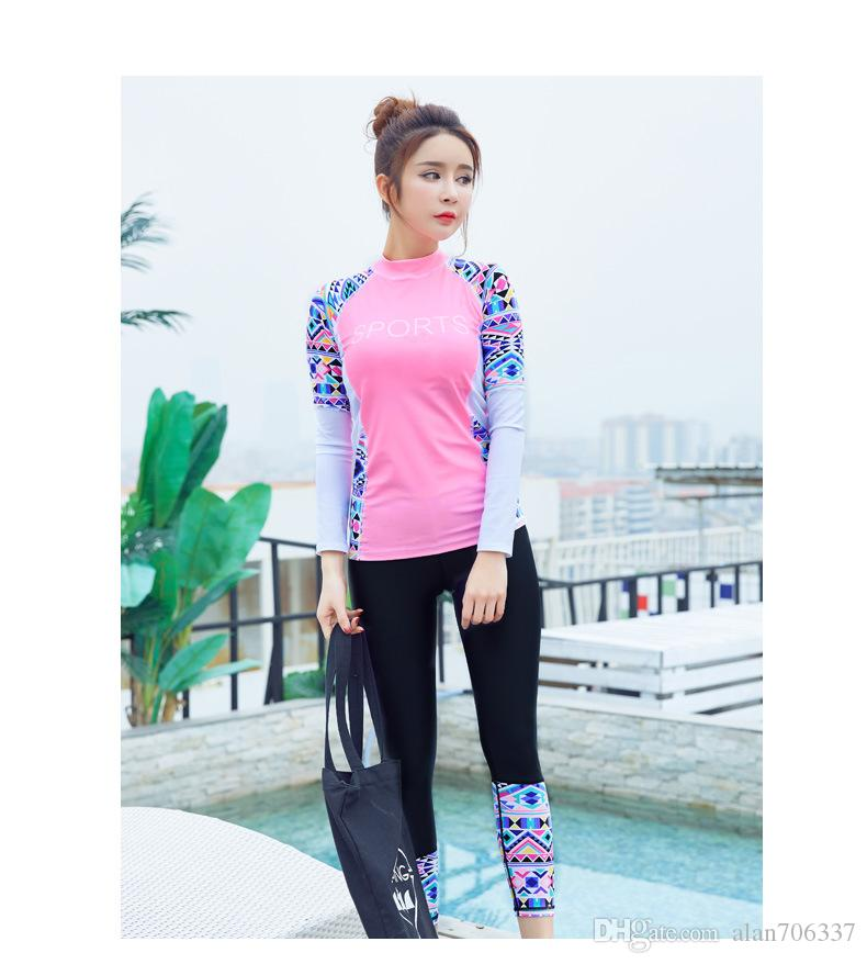 Womens Wetsuits Long Sleeve Patchwork Sexy Diving Suit Women Slim Lady Two Pieces Swimsuits Girls Bodysuit Surf Rash Guard 6601