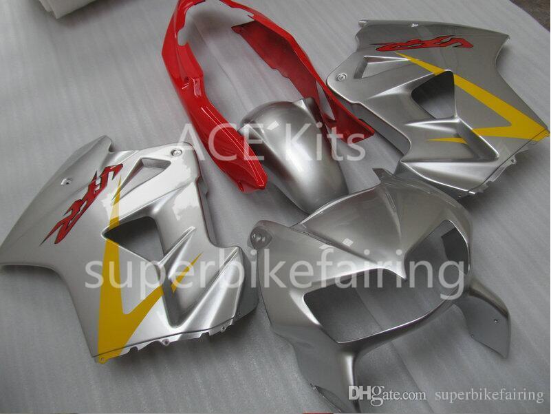 Kit carenatura moto HONDA VFR800 98 99 00 01 VFR 800 1998 1999 2000 2001 ABS Argento Set carenature rosse + 3 ingranaggi VB02