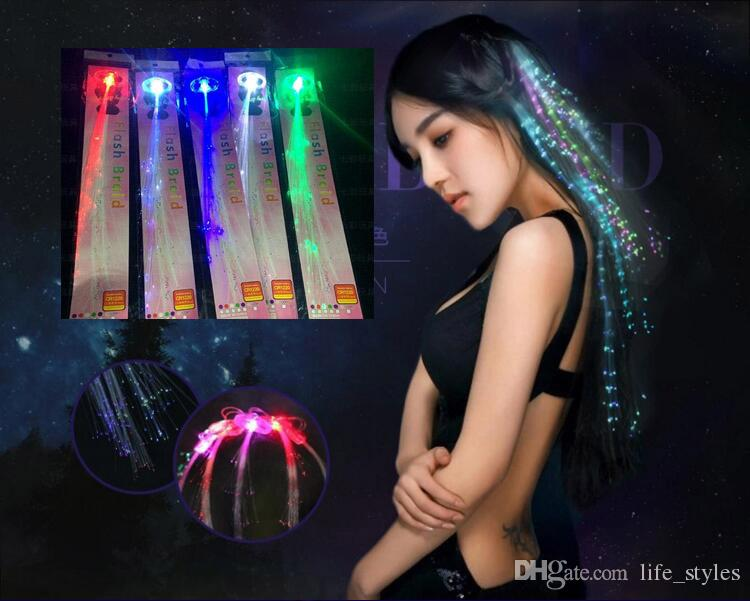 Flash Night Lights Braid Luminous Light Up Led Hair Extension Party