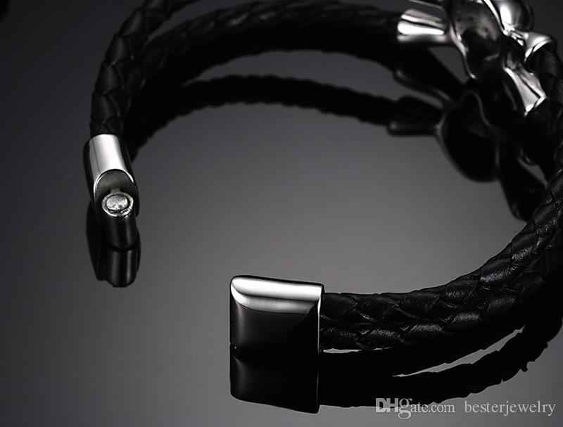 2016 Hot 5mm double wrap stainless steel skull mens punk braided genuine leather bracelet bangles