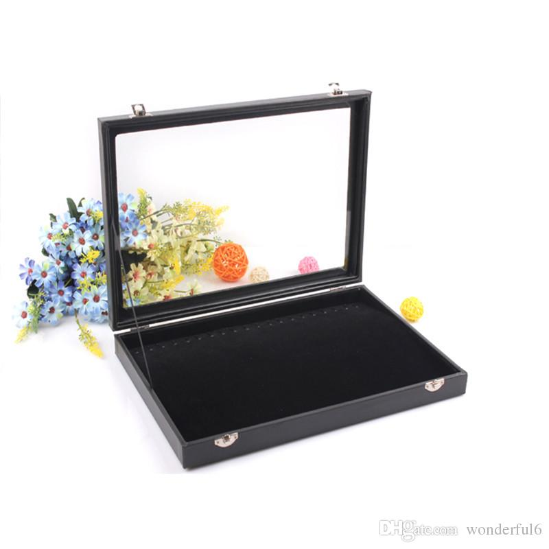 Fashion Black Jewelry Display Box Necklace Case Bracelet Holder Jewelry Chain Pendants Showcase With Glass Cover