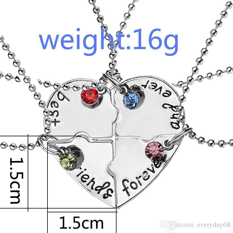 """""""best friend forever and ever"""" BFF Friend Necklace Set Heart Shape Puzzle Hand Stamped Bead Friendship Jewelry"""