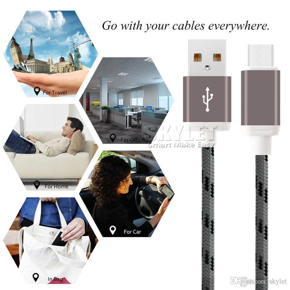 Тип USB зарядка Шнуры USB C C Мирко V8 кабель Красочные Плетеный кабель 56K Ом Кабель 6FT 10FT Для S8 S9 Android сотовых телефонов