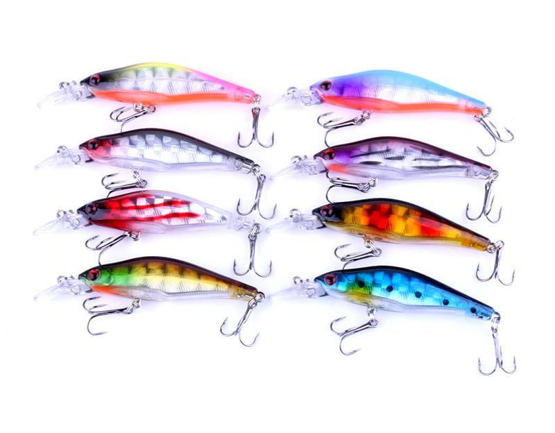 Heißer ABS Plastik, der künstliche Minnow-Fischen-Lockt 8cm fischt 6.3g 3D Süßwasser-Fischen-Laser-flache Schwimmenköder