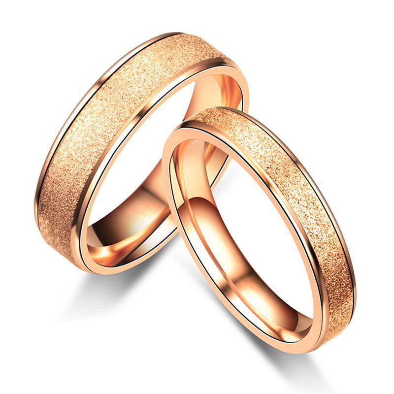 Grosshandel 4mm 6mm Edelstahl Dull Polnisch Ring Rose Gold