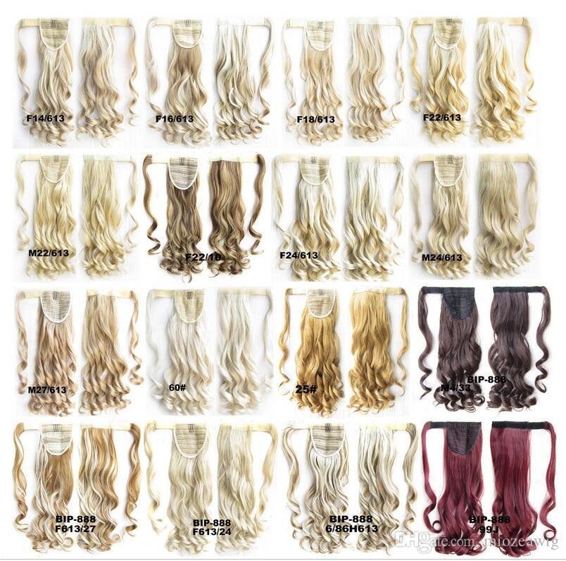 """High Temperature Fiber 22""""/55cm Synthetic Hair realistic Ponytail Long Wavy Women's self-adhesion Loop Tapes Wrap On Ponytails"""