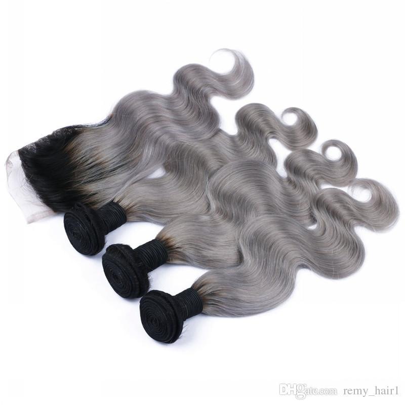 الماليزي أومبير 4x4 الرباط اختتام مع 3 حزم # 1B / رمادي اثنين من لهجة شعر الإنسان الملونة مع إغلاق الجسم موجة الفضة رمادي أومبير ينسج