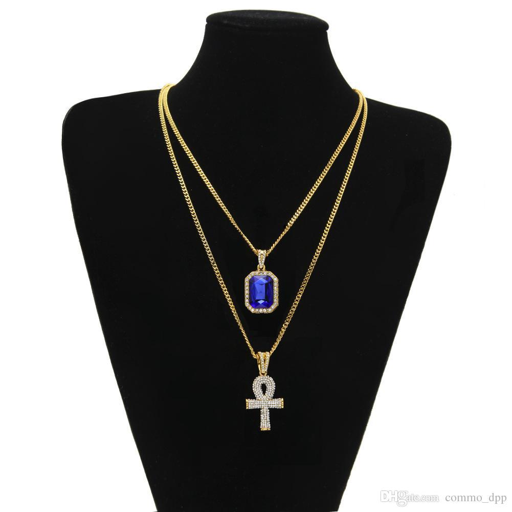Hip Hop Schmuck Ägyptische große Ankh Key Anhänger Halsketten Sets Mini Quadrat Ruby Sapphire mit Kreuz Charme kubanischen Link für Herrenmode