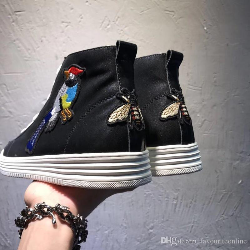 032a25b2022c5a Luxury New Mens High Top Shoes Magpie Bee Ankle Genuine Leather Flat Heels  Casual Sneaker Trainers Boots Italian Size 38 44 Ladies Boots Cheap Boots  From ...
