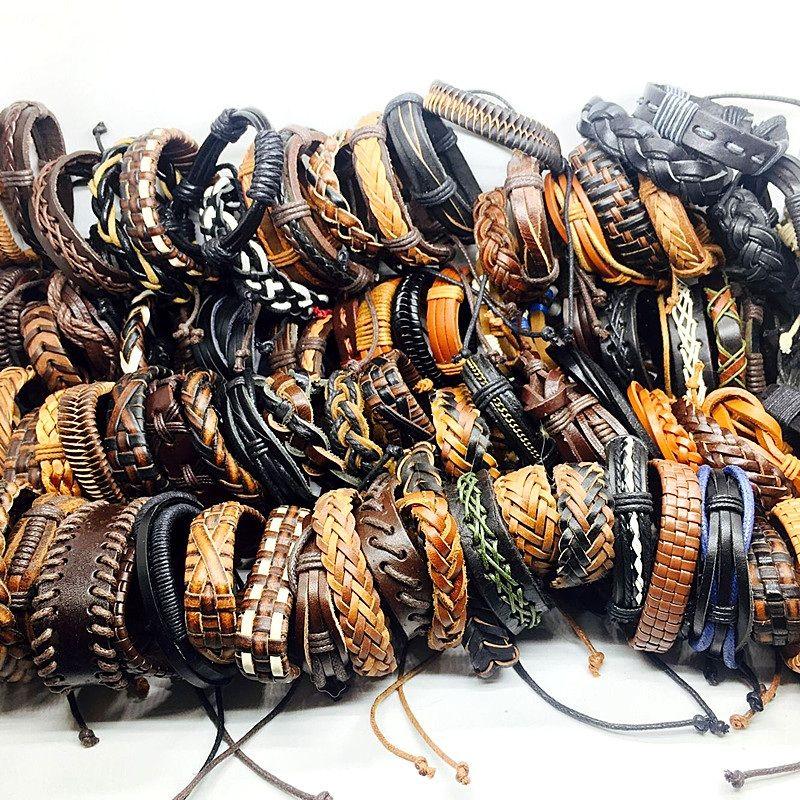 Оптовая 100 шт. / лот смешать стили ручной черный / коричневый мужской винтаж Натуральная кожа серфер ювелирные браслеты манжеты