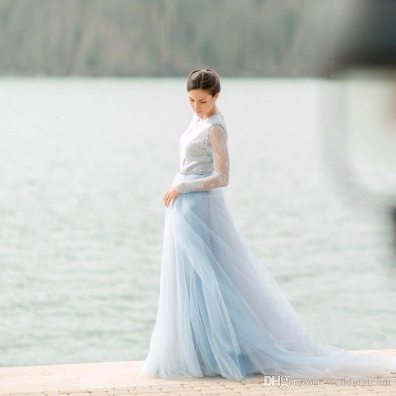 Yeni Açık Mavi Tül Sahil Gelinlik Uzun Kollu Jewel Boyun Bir Çizgi Gelin Kıyafeti Mahkemesi Tren Dantel En Gelinlik