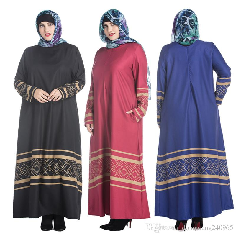 Xl 7xl Fat Women Muslim Dress 2017 New Style Plus Size Loose Long
