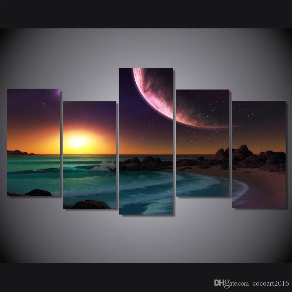 / Set HD Imprimé Pourpre Planète Océan Artistique Paysage Image Mur Art Toile Impression Room Decor Affiche Toile Peinture Art