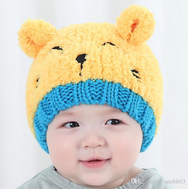 New Outono Inverno Dos Desenhos Animados Do Bebê Orelhas Dos Animais Chapéu Dos Miúdos De Malha Cap Meninas Meninos Gorros Quentes Crianças Chapéus M67