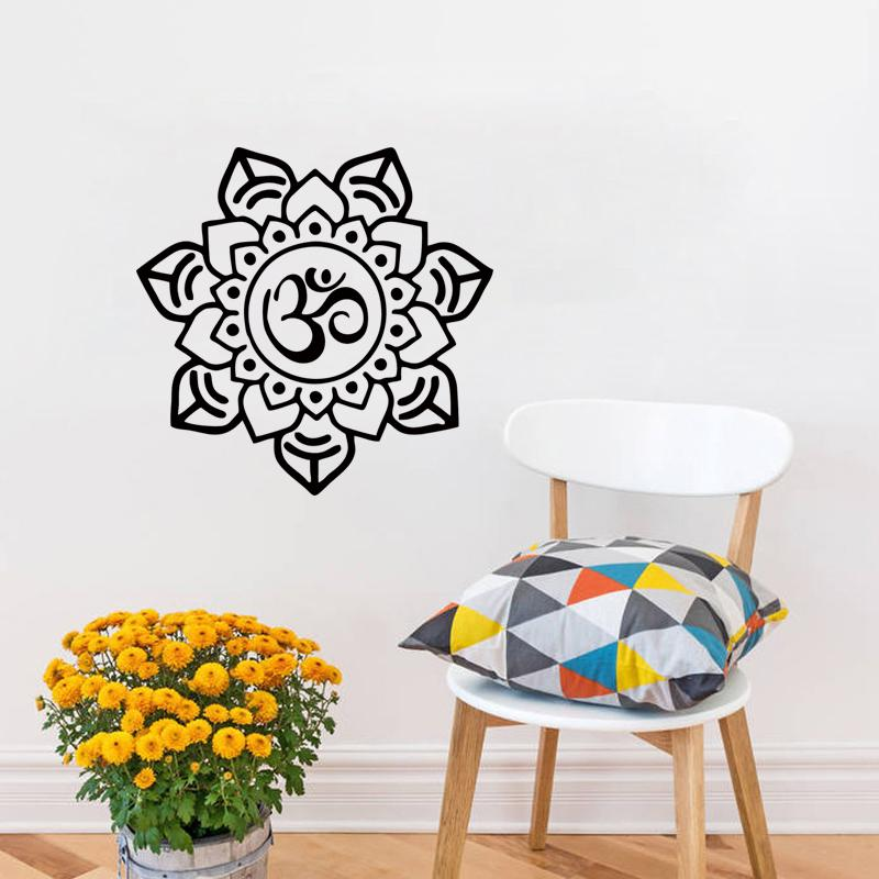Om Sign Home Decor Mandala Wall Sticker Art Pvc Hollow Out Indian Flower Pattern Living Room Murals Diy Stickers For Decorating Walls