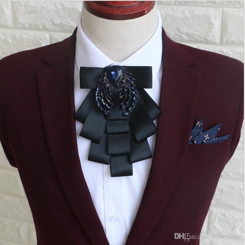 Pajarita de lujo británica hombres atan el vestido de boda negro del novio Bowtie Diamand Lazos de es Corea del hombre
