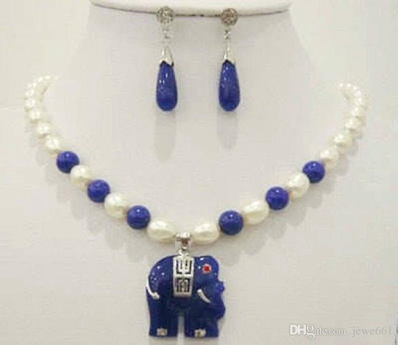2018 natural white rice pearl blue jade elephant pendant 2018 natural white rice pearl blue jade elephant pendant necklace earrings set from jewe661 1908 dhgate aloadofball Gallery
