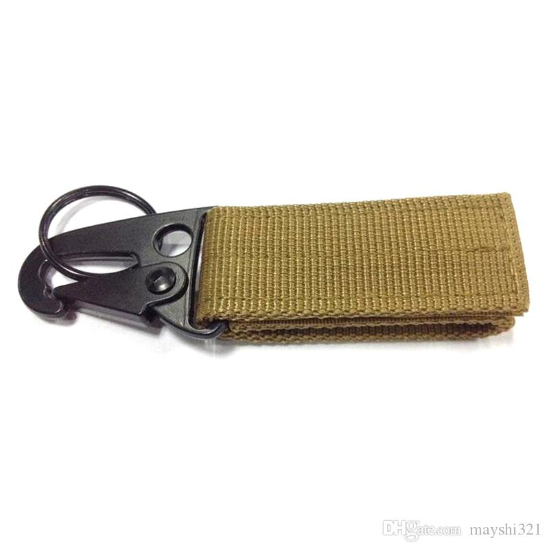 Gros Outdoor Gadgets Militaire Tactique Multifonction Mousqueton Clip Fermoir En Nylon Sangle Boucle Suspendue Olecranon Crochet Porte-clés