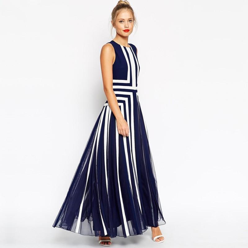Großhandel Plus Size Böhmisches Kleid Frauen Mesh Striped Maxi Kleid ...