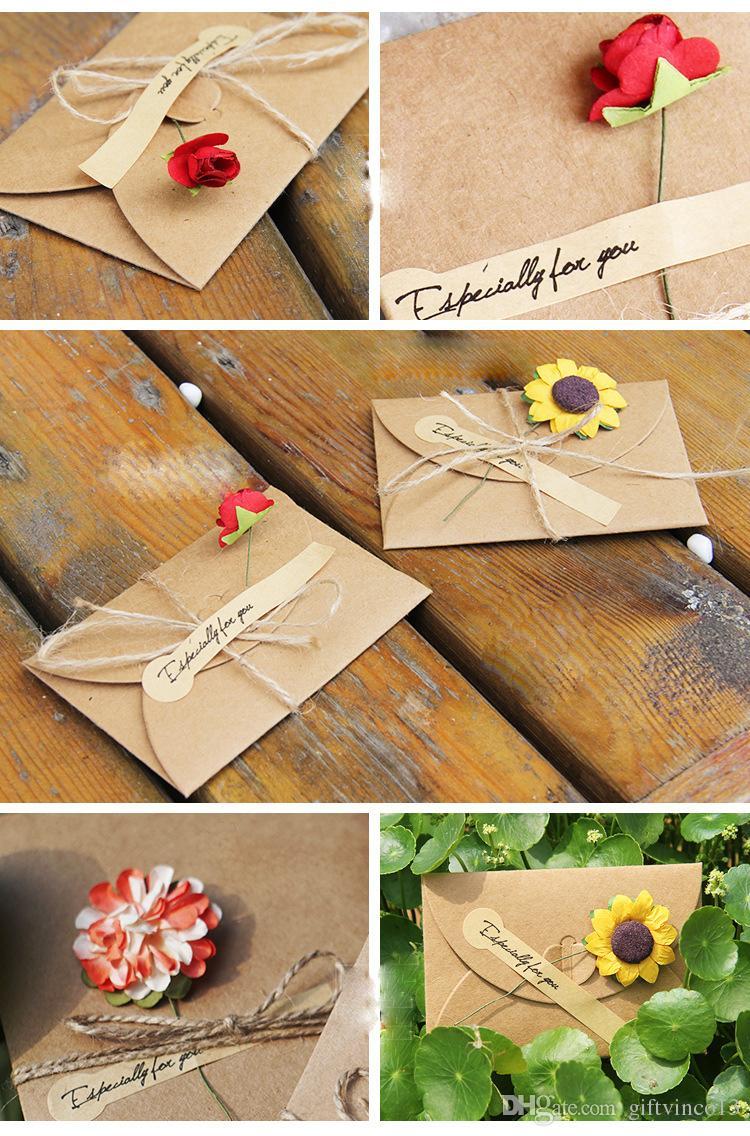 DIY Retro Enveloppe Kraft Papier Fleurs À La Main Carte Postale Bénédictions Combinaison Cartes De Voeux Pour La Saint Valentin Anniversaire Avec Rose