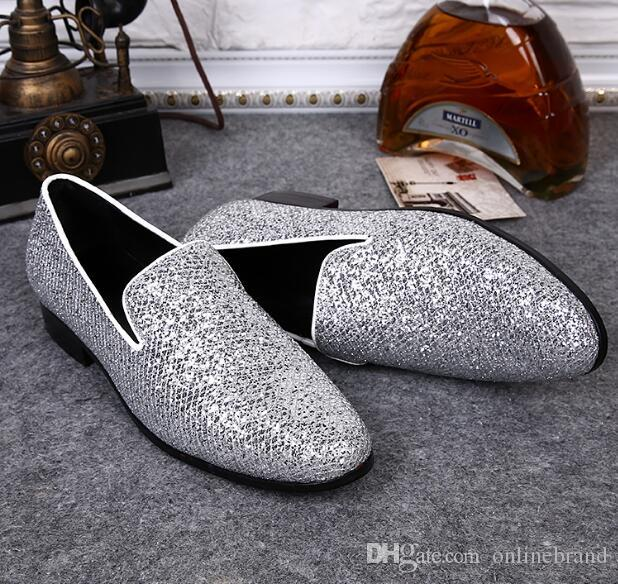 British men's silver sequins leather mens shoes breathable round hair stylist sets foot tide shoes flats men oxfords glitter slip on