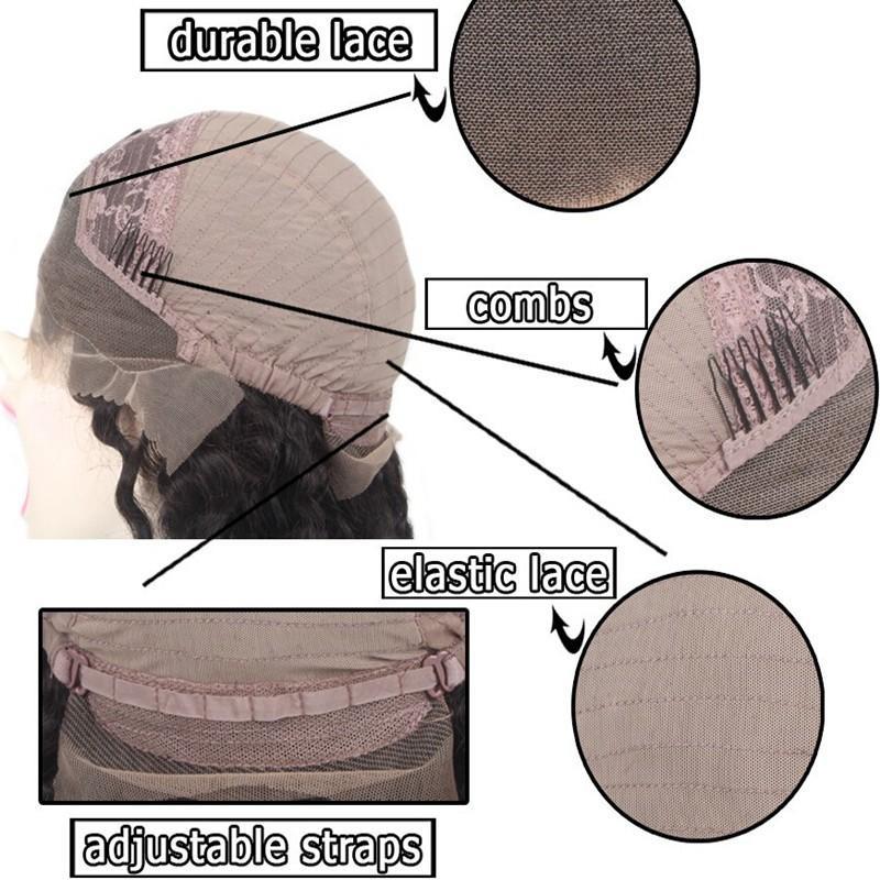سميكة 180 الكثافة الجذور الداكنة أومبير شقراء الرباط الجبهة الباروكة الاصطناعية مقاومة للحرارة الشعر متموجة الجسم موجة الباروكات للنساء السود