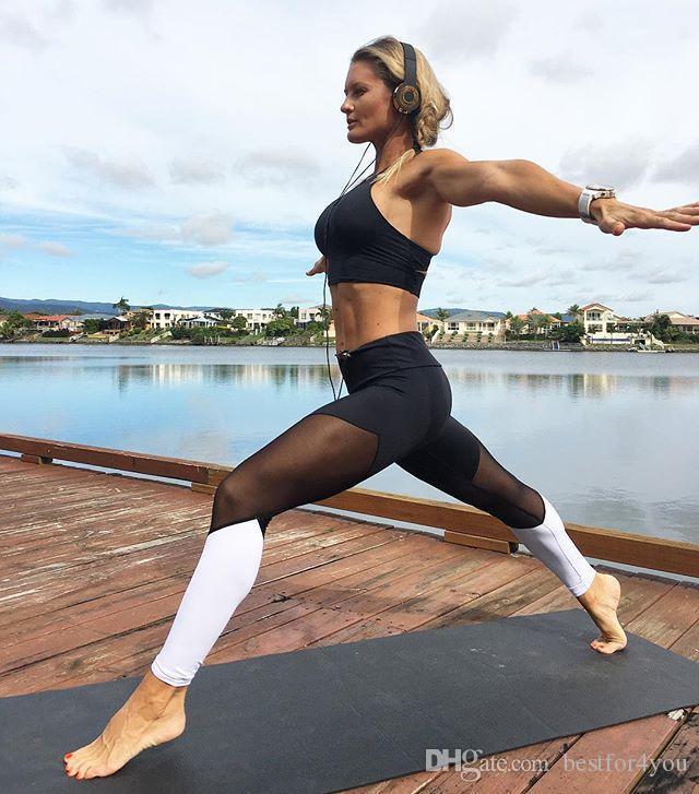 Fille Fitness Photo acheter date patchwork yoga gym pantalons Élastiques femmes mince