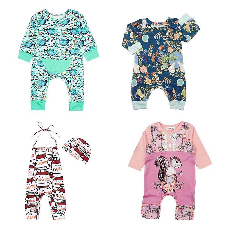 acebdcdb02d2 2019 Baby Rompers Print Designs Boy Girls Jumpsuits Newborn Infant ...