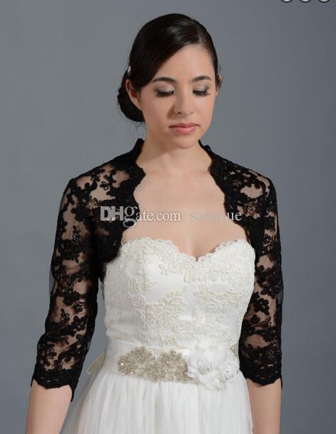 2017 Black Wedding Bridal Bolero Jacket Cap Wrap Shrug Front Open Backless Cheap Custom Made Jacket for Wedding White Ivory Sexy
