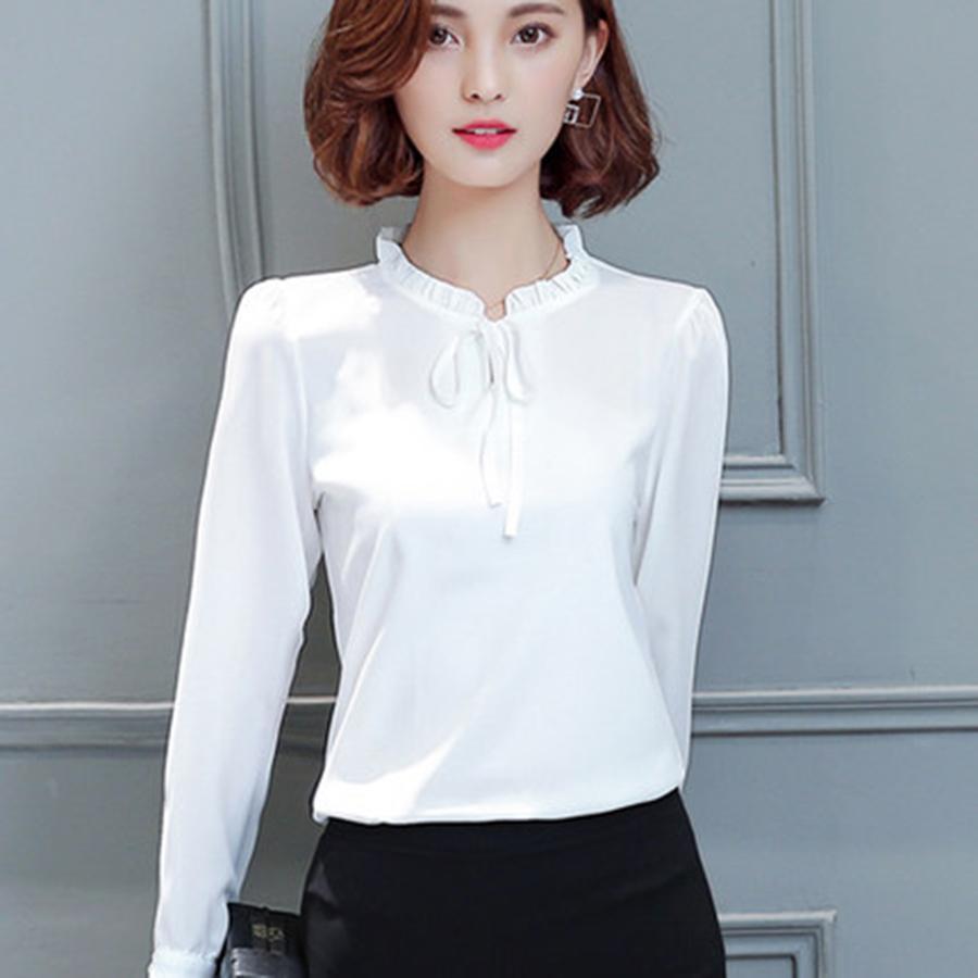Spring Women Chiffon Shirt Blouse Long Sleeve Elegant Clothing ...