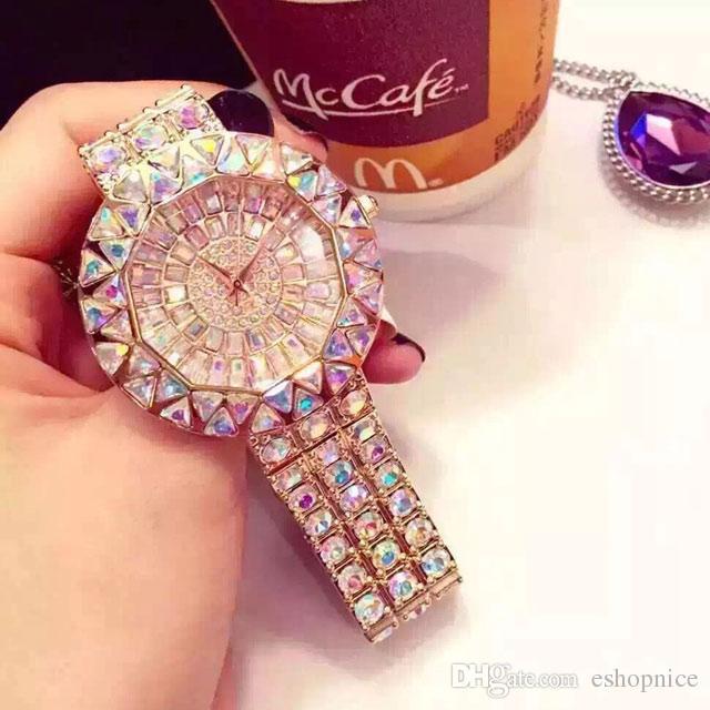 Vestido de lujo relojes para las mujeres del diamante de las señoras del reloj de manera del reloj de pulsera de cuarzo resistente al agua Montre Femme envío