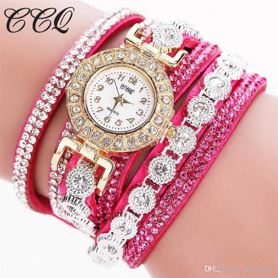orologi moda casual di lusso orologio da polso donna orologi da polso in pelle da donna avvolgente polso infinito strass bracciali